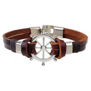 Other - ⚓️Men's Leather ship wheel bracelet